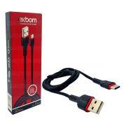 Cabo de Dados e Carregamento USB Type-C Carrega Rápido USB 2.1A 1 Metro Exbom CBX-U2100TCB1 Preto