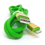 Cabo Lightning em Silicone Flexível Verde Resistente Conector em Metal 1.2 metros