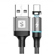 Cabo Magnético 3 em 1 para Recarga de Celular Micro USB V8 + USB Tipo C + Lightning 2.4A 1 metro SX-B16-3 Prata