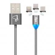 Cabo para Celular 3 em 1 Lightning + USB Tipo-C + Micro USB V8 com Pontas Magnéticas 2,4A 12W 1,5 metros ELG PW315MBS