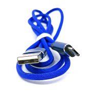Cabo para Celular Micro Usb V8 para Dados e Carregamento em Nylon Resistente com Conectores Reforçados / 1 metro / Azul