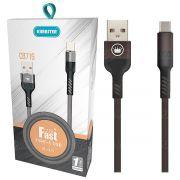 Cabo Type-C USB Blindado Carregamento Rápido 2.4A com 1 metro Kimaster CB716