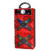 Caixa de Som Bluetooth 12W com DJ Led Rádio FM Entrada SD USB Karaokê Exbom CS-M481BT Vermelha