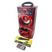 Caixa de Som Bluetooth Portátil 12W Torre com USB SD FM Aux Microfone Karaoke e LED DJ Infokit VC-M868BT Vermelha