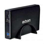 """Case para HD 3.5"""" SATA III USB 3.0 até 10TB em Alumínio com Fonte Externa Exbom CGHD-G34"""