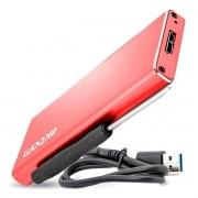 Case para SSD M.2 B KEY / NVME / NGFF até 3TB USB 3.0 High Speed em Alumínio Exbom CGHD-M2B31 Vermelho