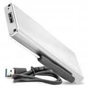 Case USB 3.0 para SSD M.2 B KEY / NVME / NGFF até 3TB High Speed em Alumínio Exbom CGHD-M2B31 Prata