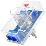 DPS Clamper Energia + Tel Proteção contra Raios e Surtos na Rede Elétrica e de Telefonia RJ11 Bivolt 10A Transparente
