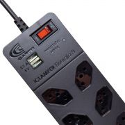 DPS Clamper + Filtro de Linha 8 Tomadas 10A e 2 USB Proteção contra Surtos Elétricos Bivolt iClamper Energia 8 Preto