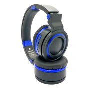 Fone Bluetooth 5.0 Wireless com Alças Dobráveis Headphone Exbom HF-480BT Preto com Azul