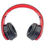 Fone de Ouvido Bluetooth Dobrável com FM SD P2 Headphone Sem Fio Estéreo Exbom HF-400BT Vermelho com Preto