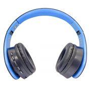 Headphone Bluetooth Dobrável com Rádio FM SD P2 Estéreo Fone Sem Fio Exbom HF-400BT Azul com Preto
