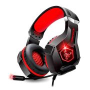 Headphone Gamer para PS4 PC Celular com Microfone Articulado LED RGB 7 Cores Almofada Extra Macia GH-X1000 Fone Vermelho