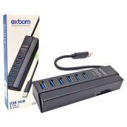 HUB USB 3.0 Combo 8 em 1 com 6 portas USB + 2 Leitores de Cartão Multimídia SD e MicroSD Exbom UH-R36