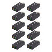 Kit 10x / Adaptador de Som USB 2.0 Externo 7.1 Canais Exbom USOM-10 / Placa de Som USB