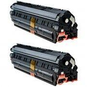 Kit 2x / Toner Compatível HP 435A 436A 285A / P1102W P1102 M1132 M1210 M1212 P1005 P1006 P1505 M1120 / Preto / 1.800