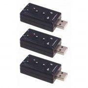 Kit 3x / Adaptador de Som USB 2.0 Externo 7.1 Canais Exbom USOM-10 / Placa de Som USB