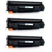 Kit 3x / Toner Compatível HP 35A 36A 85A / P1102W P1102 M1132 M1212 P1005 P1006 P1505 M1120 1102W 1109W / Preto / 1.800
