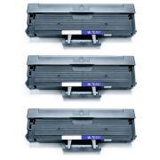 Compatível: Kit 3x Toner D101S para Samsung SCX-3400fw SCX-3405fw SCX-3401 ML-2165w ML-2162g ML2165 / Preto / 1.500