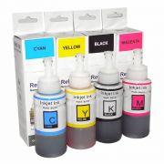Compatível: Kit Colorido de Tinta Corante Laserteck para Epson L210 L220 L355 L365 L375 L555 L575 L800 L1300 / 4x70ml