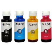 Kit 4 Cores / Tinta Compatível X-Full para impressora HP Série GT / GT5822 GT5810 GT5820 GT-5822 GT-5810 GT-5820 / 300ml