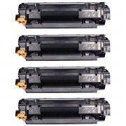 Kit 4x / Toner Compatível 435A 436A 285A para HP P1102W P1102 P1109W P1109 M1132 M1212 P1005 P1505 1132 / Preto / 1.800