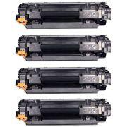 Compatível: Kit 4x Toner 435A 436A 285A para HP M1132 M1212 P1005 P1505 P1102W P1102 P1109W P1109 / Preto / 1.800