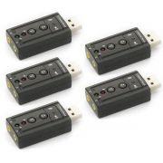 Kit 5x / Adaptador de Som USB 2.0 Externo 7.1 Canais Exbom USOM-10 / Placa de Som USB