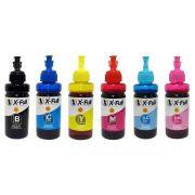 Compatível: Kit Colorido de Tinta Corante X-Full Ultra para Epson Ecotank L800 L805 L810 L850 L1800 / 6 Cores / 6x100ml