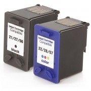 Kit Cartucho de Tinta Compatível HP 21 27 56 Preto 18ml + 22 28 57 Colorido 13ml / F4180 F380 J3680 D2360 D2460 3910