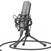 Microfone Streaming GXT 242 Lance Cardioide Unidirecional com Tripé Filtro Pop Montagem de Choque e Antivibrações Trust