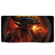 Mouse Pad Gamer Extra Grande 700x350x3mm Bordas Costuradas Base Antiderrapante Dragão de Fogo Exbom MP-7035C