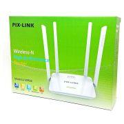 Roteador Sem Fio 4 Antenas Externas Rede Wireless 300Mbps Wi-FI AP Router Branco Pix-Link LV-WR08