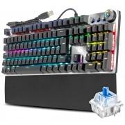 Teclado Gamer Mecânico Switch Blue KRGD Full Anti-Ghosting Software Modo Gamer LED ABNT2 Adamantiun Karambit AK-2000