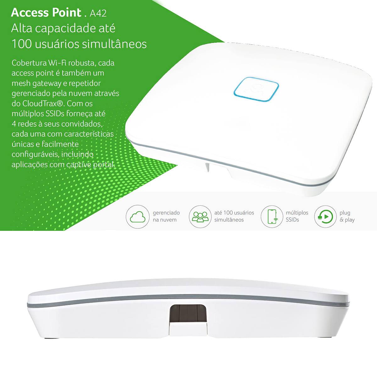 Access Point A42 Alta Capacidade até 100 Usuários Simultâneos e Múltiplos SSIDs AP Open Mesh