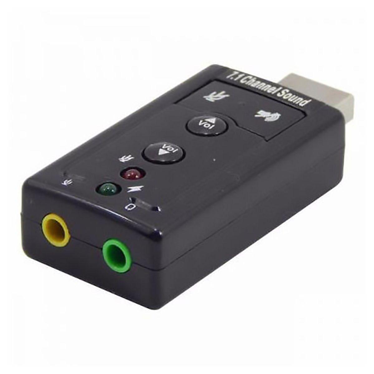 Adaptador de Som USB 2.0 Externo 7.1 Canais Exbom USOM-10 / Placa de Som USB