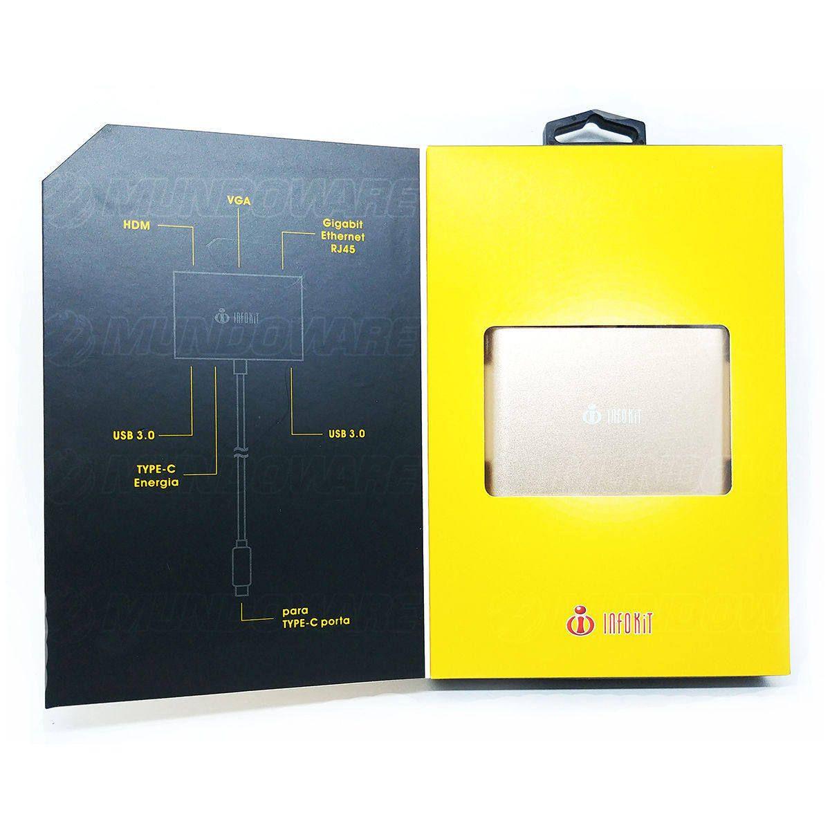 Adaptador Type-C para Notebook / Macbook 6 em 1 converte HDMI VGA USB 3.0 Type C Fêmea RJ45 Gigabit Infokit TCE-RCNB106