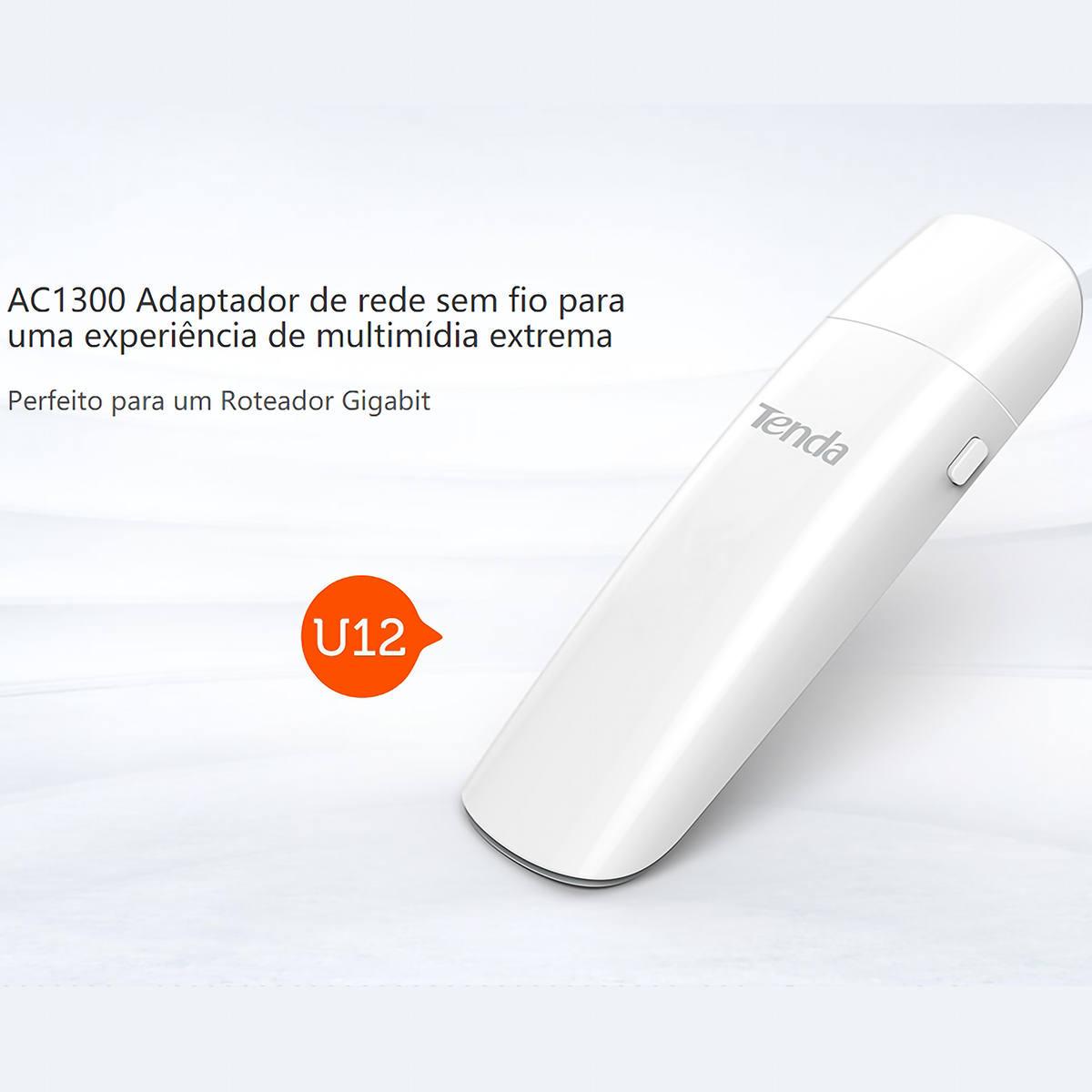 Adaptador USB Wireless 1300Mbps 802.11AC Sem Fio de Alta Performance Ideal para Rede Gigabit Tenda U12