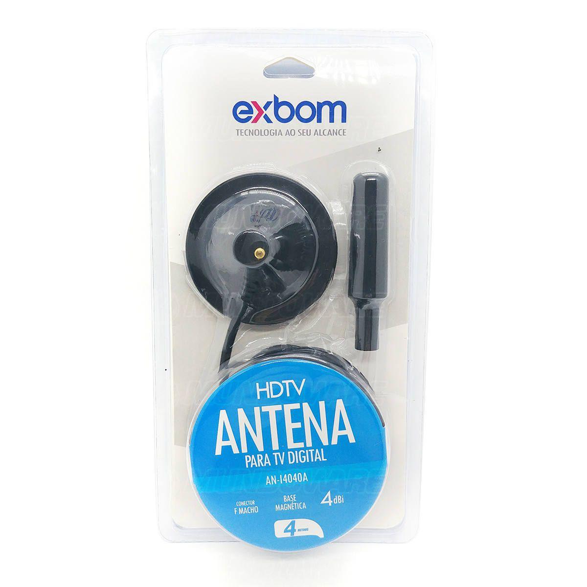 Antena para TV Digital 4dBI Interna e Externa HDTV UHF VHF Cabo 4 metros Base Magnética à Prova d'água Exbom AN-I4040A