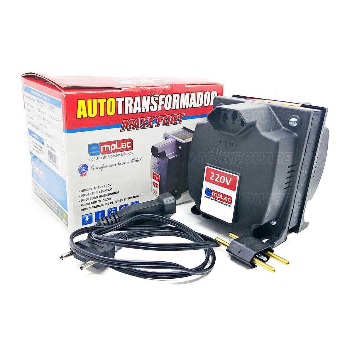 Auto Transformador 1500VA 1050W Bivolt Tomada 10A com Protetor Térmico e Proteção Contra Sobrecarga Emplac F30008