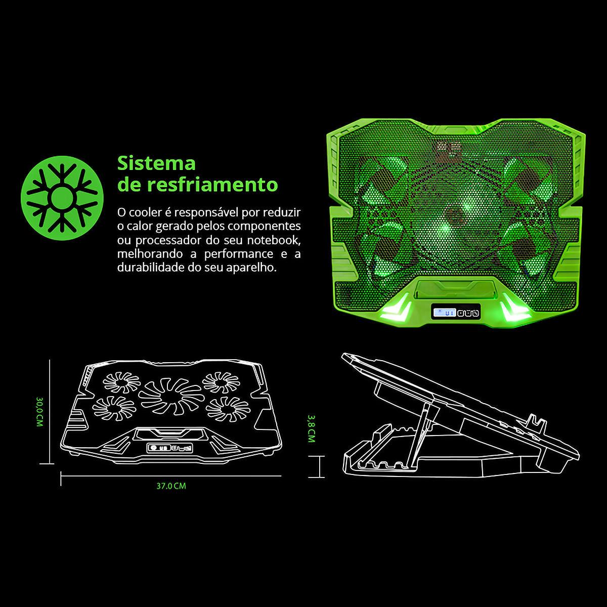 """Base Gamer para Notebook até 17"""" com 5 Coolers Superfície em Metal Painel LCD de Controle Warrior Zelda AC292"""