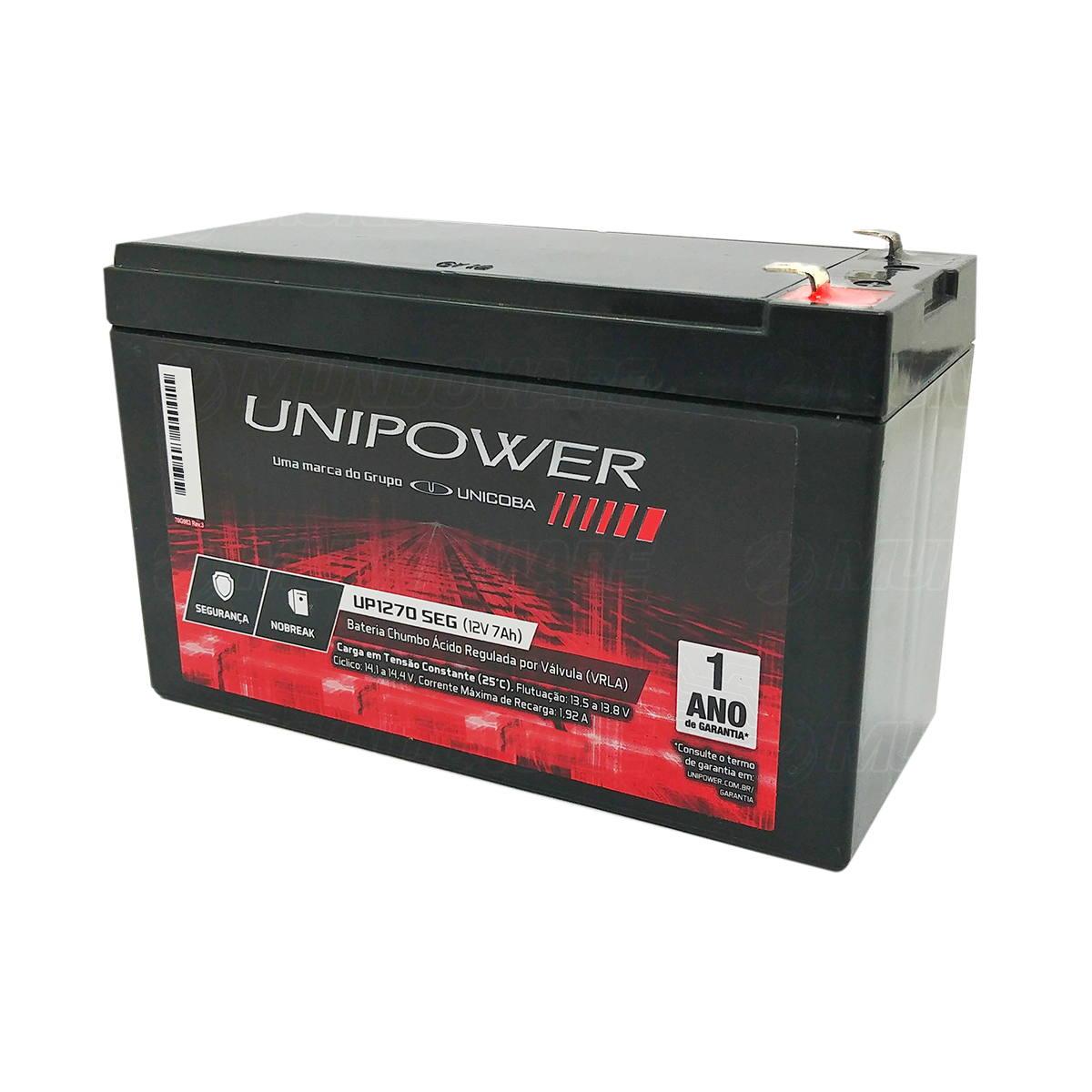 Bateria 12V 7Ah Selada para Nobreak Sistema de Segurança e Alarme VRLA Unicoba Unipower UP1270 SEG