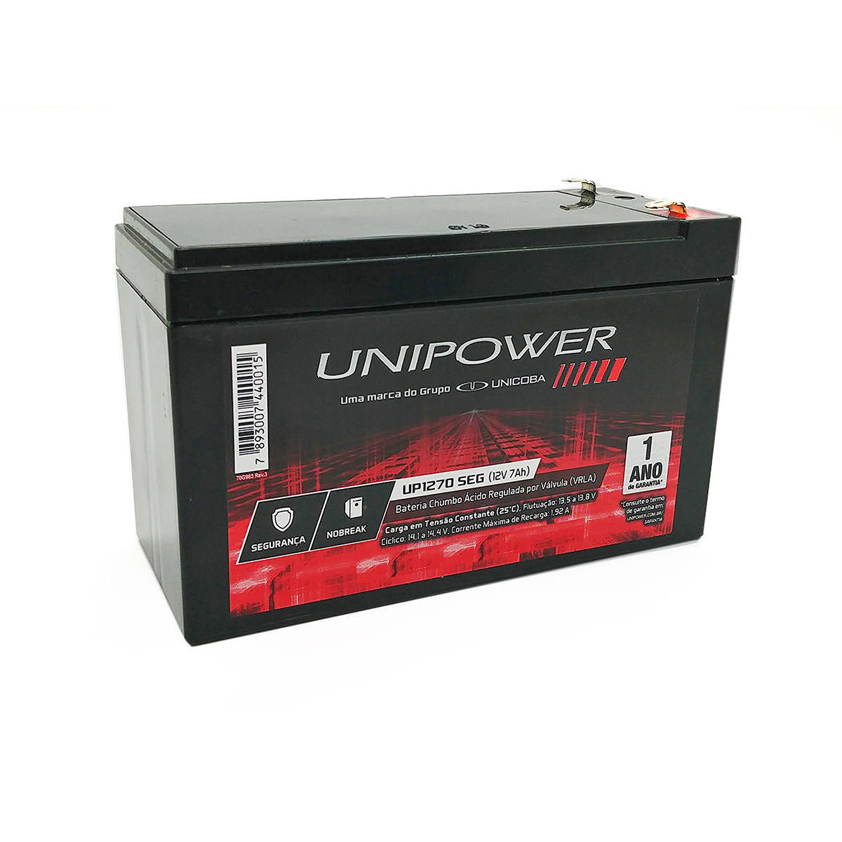 Bateria 12V 7Ah Selada para Nobreak Sistema de Segurança e Alarme VRLA Unicoba Unipower UP1270SEG
