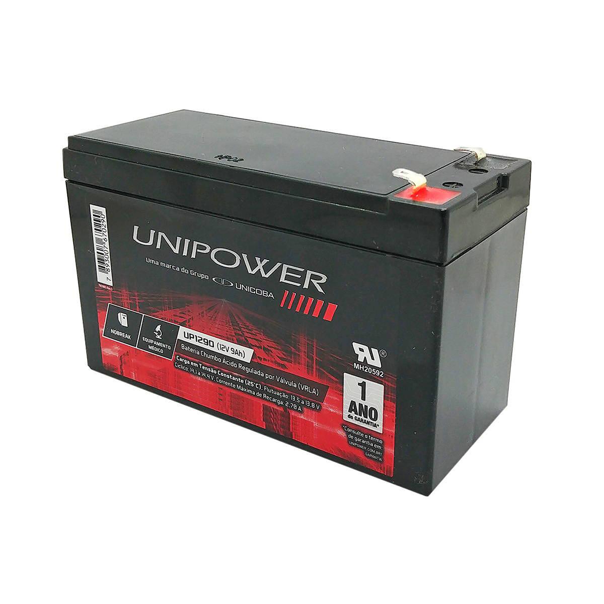Bateria 12V 9Ah Selada para Brinquedos Eletrônicos Nobreaks Sistemas de Segurança e Alarme Unicoba Unipower UP1290