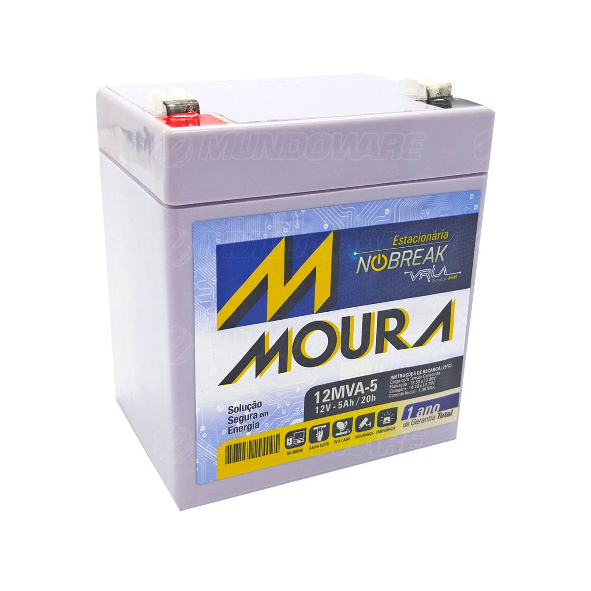 Bateria Estacionária para Nobreak 12V 5Ah Tecnologia VRLA AGM Moura