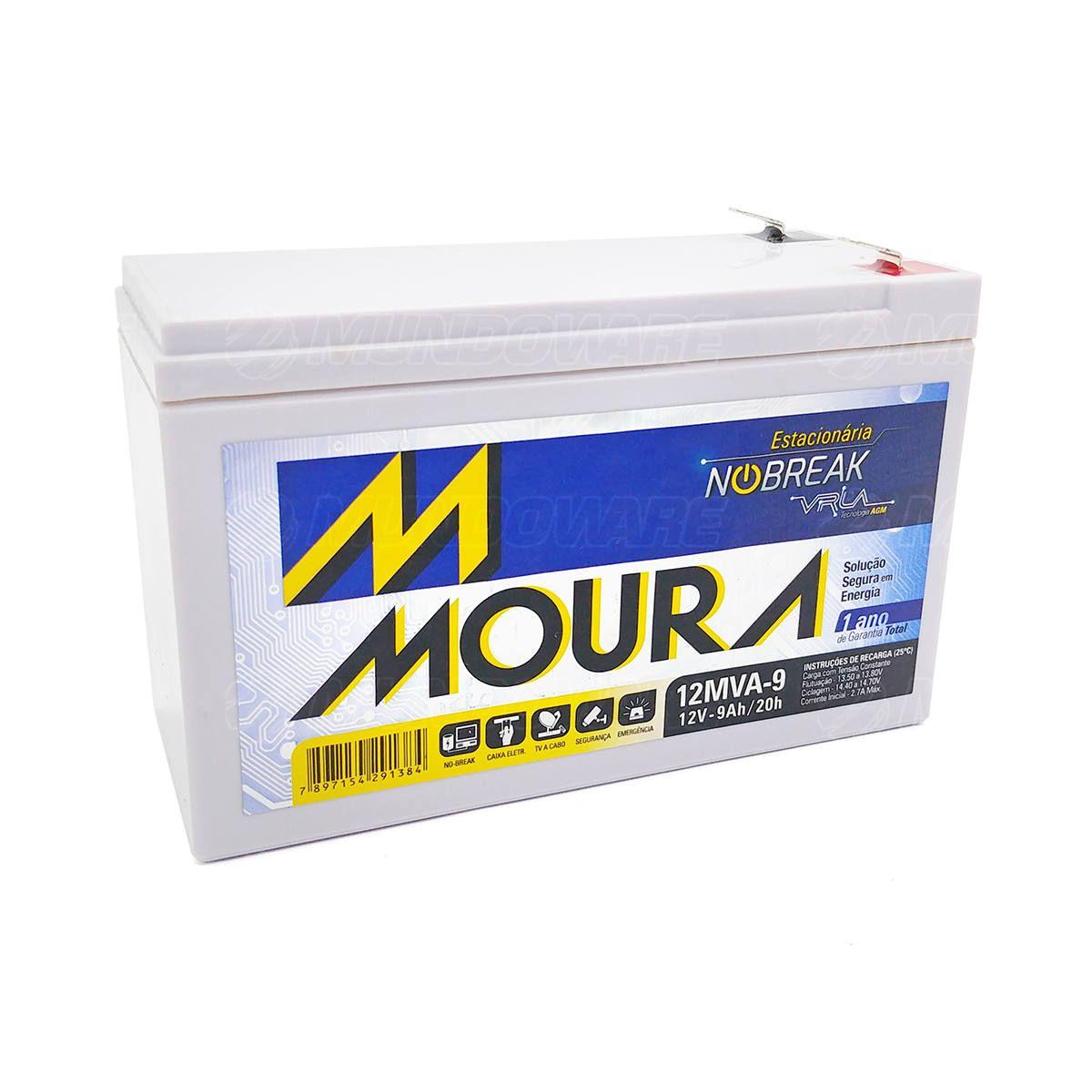 Bateria Estacionária para Nobreak 12V 9Ah Tecnologia VRLA AGM Moura