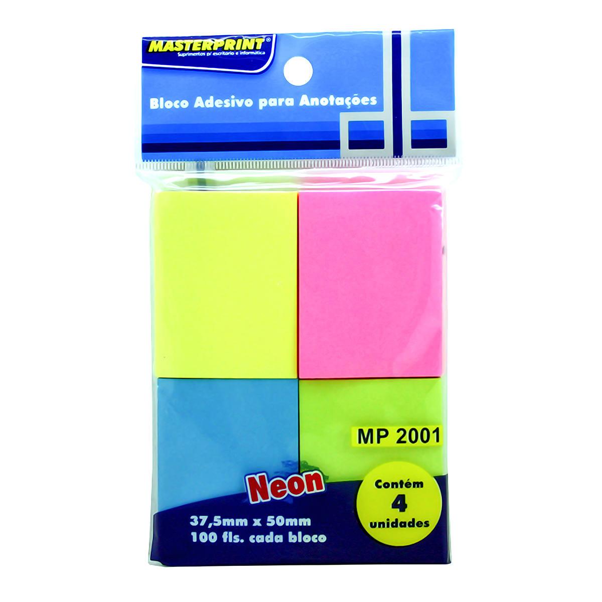 Bloco Adesivo para Anotações 4 Cores Neon 37.5x50mm com 4 Blocos de 100 Folhas cada Masterprint MP2001