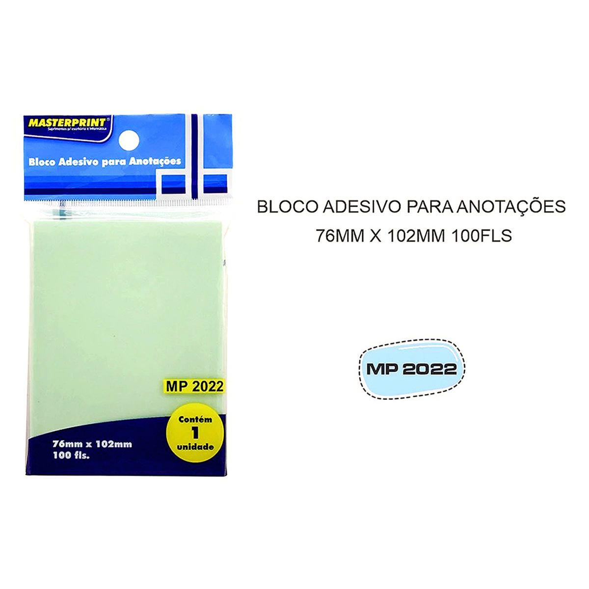 Bloco Adesivo para Anotações Verde 76x102mm com 100 Folhas Masterprint MP2022