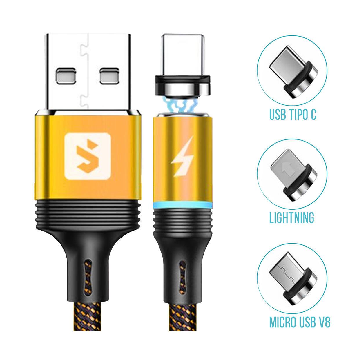 Cabo 3 em 1 para Celular Micro USB V8 + USB Tipo C + Lightning com Pontas Magnéticas 2.4A 1 metro SX-B16-3 Dourado