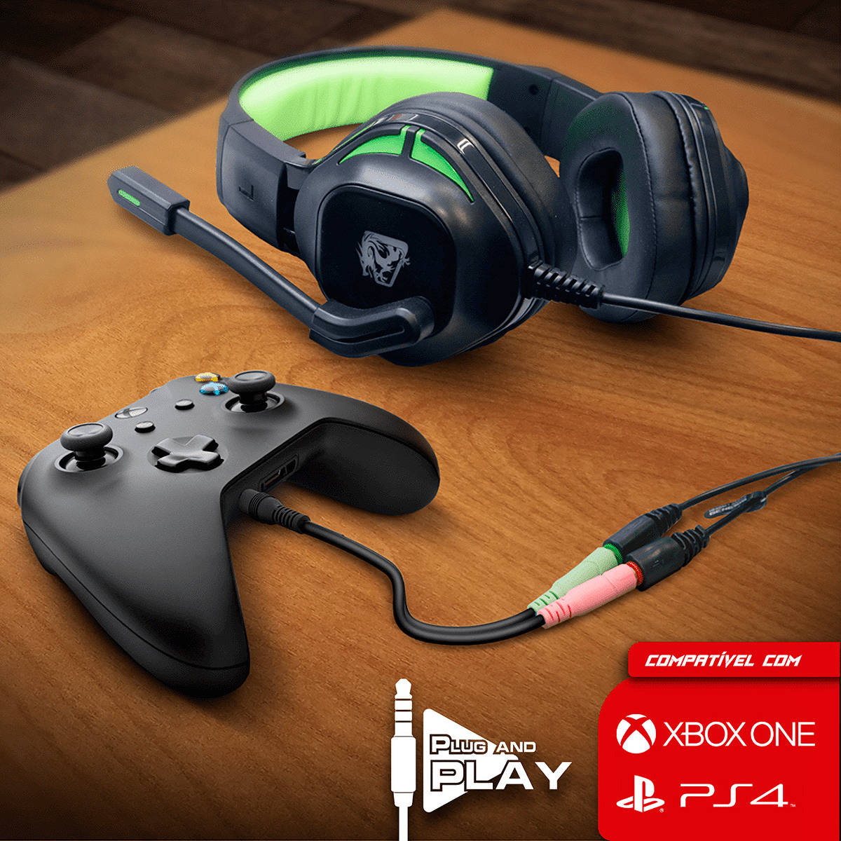 Cabo Adaptador de Áudio P2/P3 para Headset Compatível para usar em Consoles PS4 Xbox One ELG AAVGP3